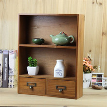 Zakka 2 Layer Wood Storage Box With Drawer Lockers Retro Wooden Display Storage Box Cabinet