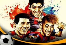Ken Luis Suarez Messi MSN 40X60cm Neymar 20 Barcelona football soccer star stickers posters, cartoon decorations