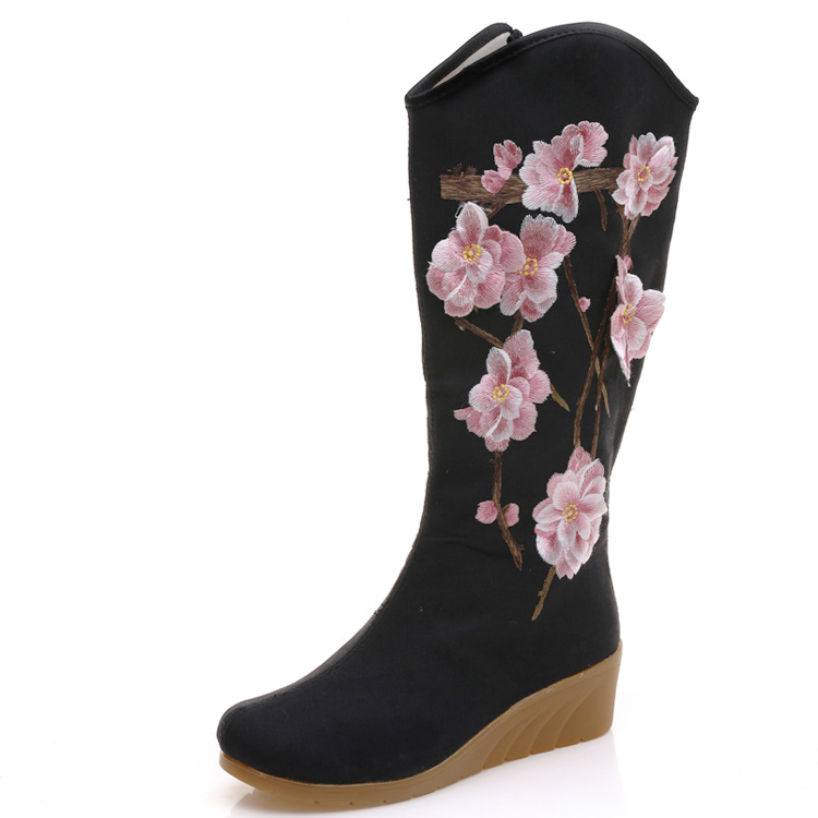 Women Boots Flowers Embroidered Canvas Mid Boots Zip Hidden Wedges Heel Ladies Tall Booties Platforms Shoes Botas Mujer