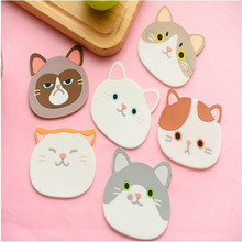 1 Piece Silicone Dining Table Placemat Coaster Cartoon Cat Animal Kitchen Accessories Mat Coffee Cup Bar Mug Drink Pads(China)