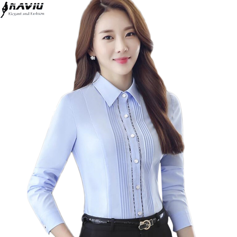 formal las summer shirts women work blouses light blue short