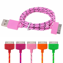 1M Phone Cable for iPhone 4 4S Durable Braided Nylon Micro USB Charger Wire Data Sync Cable for iPhone 3G 3GS iPad 3 for iPod