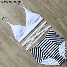 Buy RXRXCOCO High Waist Swimwear Women Sexy Striped Panties Swimsuit Solid Bikini Halter Bandage Bikini Set Padded Swimming Suit