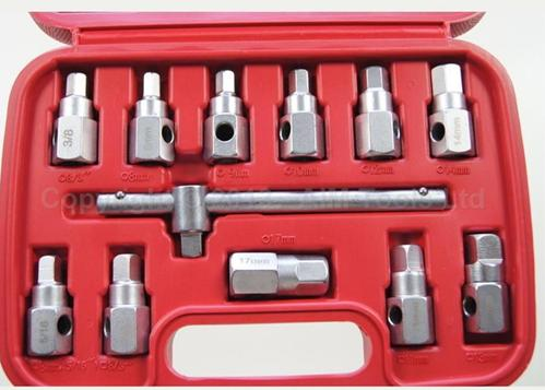 12PC Oil Drain Sump Plug Key Socket Set, Gearbox And Axel Removal Wrench<br>