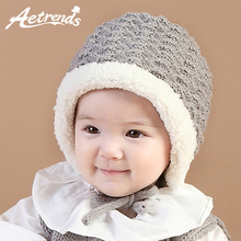 [AETRENDS] Warm Beanies for 6-15 Months Baby Lovely Knitted Babies Beanie Hats Z-6187()
