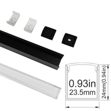UnvarySam1M Black Clear LED Aluminum Channel Anodized Extrusion for 20mm 5050 3528 LED Flex/Hard Strip Lights aluminium profile(China)