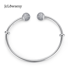 2017 New Authentic 925 Sterling Moments Silver Open Bangle With Pave Caps CZ Clear Crystal Suitable European Fit Pan Bead Charm