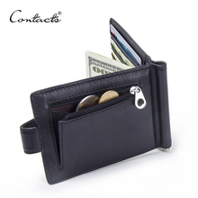 CONTACT'S Fashion Genuine Leather Money Clips High Quality Cow Leather Men Wallets Hasp Mini Purses vintage Men Wallet(China)
