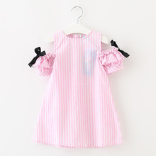 Girls Cotton Dresses Summer Baby Girls Cute Striped Clothing Children's Clothes Next Costume For Kids Little Girl Bow Dresses