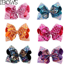 8'' Newest Mermaid Hairgrips Hair Accessories Jumbo Leather Scales Hair Bows With Clips For Kids Hairties Handmade Girls Hairpin(China)
