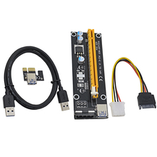 NOTAYO VER006 100cm PCI Express PCI-E 1X to 16X Riser Card Extender + USB 3.0 Cable / 15Pin SATA to 4Pin IDE Molex Power Wire