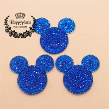 10pcs Kawaii Dark Blue Mickey Flatback Resin Cabochon Craft DIY Mobile Phone Case Hair Bow Decoration Scrapbooking,31*34mm