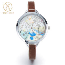 2016 MISS KEKE 3D clay cute mini world girls dresses kids watches Relogio Feminino Ladies Women quartz leather Wristwatches 820(China)