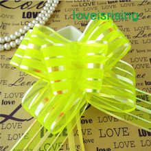 50pcs/lot,5cm Large Size Apple Green Color Organza Pull Bows For Wedding Car Decor Wedding Organza Pull Flower Ribbons Gift Wrap(China)