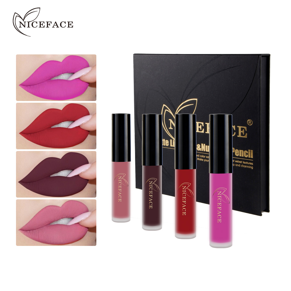 NICEFACE Christmas Gift Makeup Set 12pcs Matte Liquid Lipstick +12pcs Lip Pencil Set Sexy Red Long Lasting Charming Mouth Makeup<br>