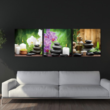 BANMU Unframed 3 Panels Purple Flowers Candle Canvas Painting Large HD Wall Pictures For Living Room Waterproof Modular Pictures