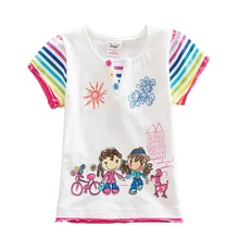 Retail Girls T Shirt Kids T Shirt Baby Tees Cotton Cartoon Tops Summer Clothes Owl Cute Children Girls Tees Neat G6121