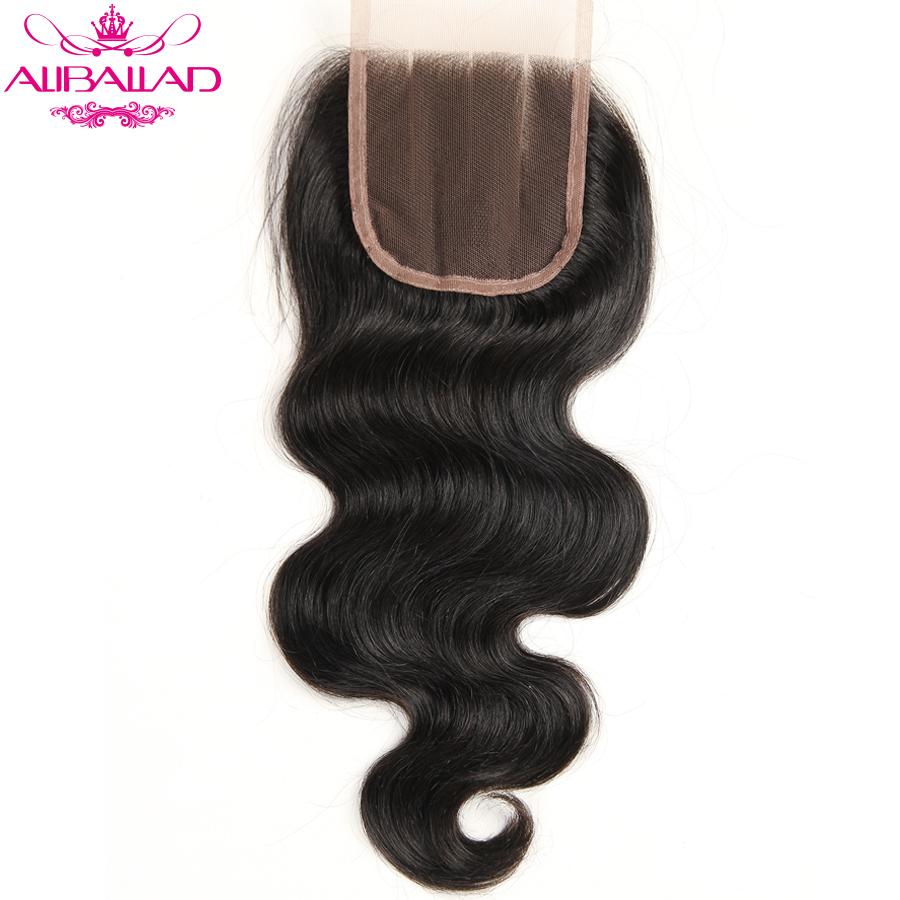 Aliballad Brazilian Body Wave Lace Closure Three Part 4X4 Natural Color Non-Remy Hair Closure 100% Human Hair 1