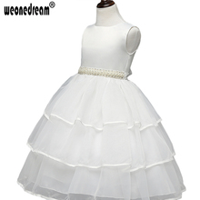WEONEDREAM 2017 White Flower Girls Dress Sleeveless Pageant Ball Gowns for Girls Kids Evening Dresses Hot Princess Dress