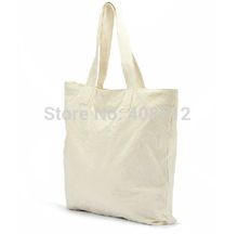 Standard shipping eco friendly shoulder length handle plain white cotton gift bag, blank canvas bag for books