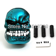 2015 new Universal bule colour Car Truck Auto Human Skull Stick Shift Gear Shifter Knob Lever Handle