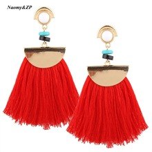 Naomy&ZP Brand Drop Earrings For Women Bohemian Ethnic Big Long Tassel Earrings Wholesale Fashion Jewelry Style Earrings Female(China)