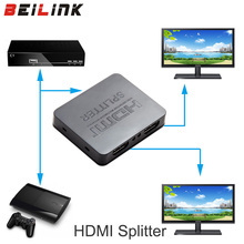 HDCP 4K HDMI Splitter Full HD 1080p Video HDMI Switch Switcher 1X2 Split 1 in 2 Out Amplifier Dual Display For HDTV DVD PS3 Xbox