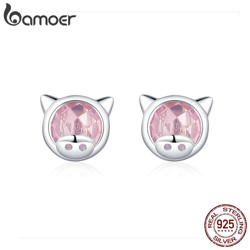 Sterling Silver 925 Pink Pig Face Ladies GIrls Childrens Stud Earrings