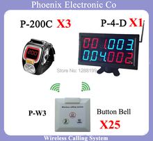 Waiter Call System K-200C With Bell Button And Menu Display Receiver For Bill Restaurant Receiver,3 kitchen watch P-200C,25 P-W3(China)