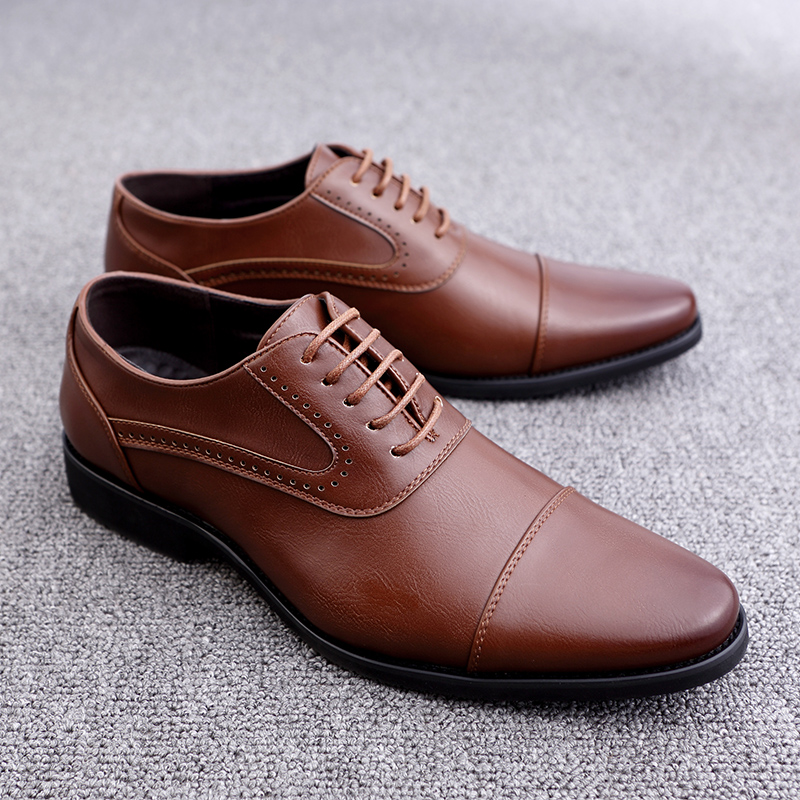 men spring working shoes luxury brand italian eurpean style pointed toe elegant male footwear dress working oxford shoes for men (23)