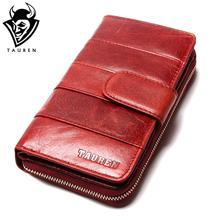2017 New Style Layer Of Import Oil Wax Cowhide Medium Paragraph Buckle Leather Wallet Women's High Quality Purse