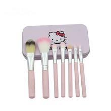Hello Kitty Oval And Fan Professional Makeup Brushes Set With Eyebrow Eyeliner Eyeshadow Powder Highlighter Blush Foundation