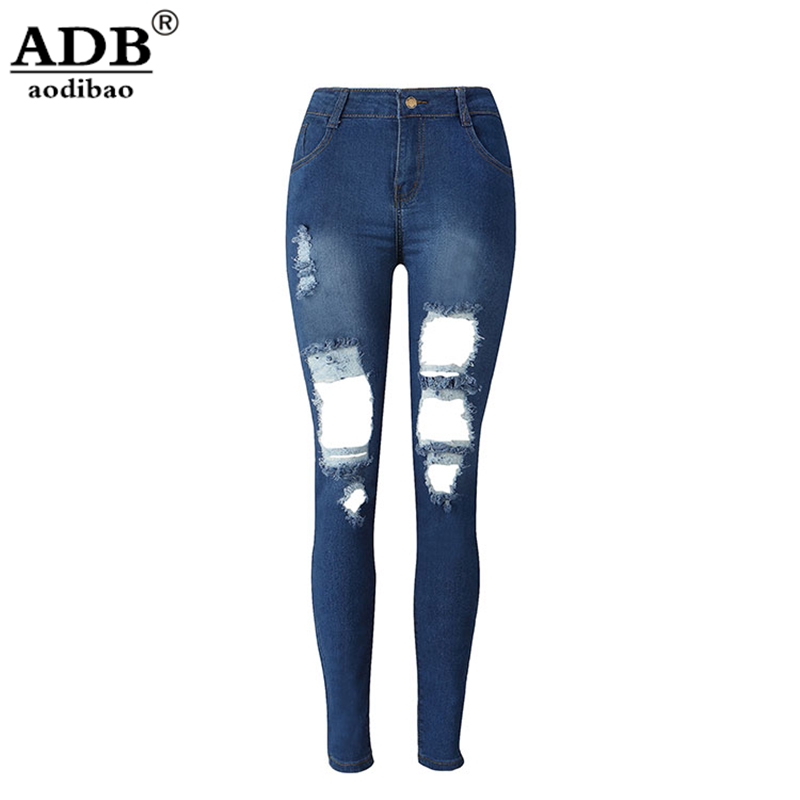 Aodibao 2017 Spring Summer Newest Skinny High Stretch High Waist Jeans Ripped Hole Push Up Pencil Jeans Feminino Vintage WashedÎäåæäà è àêñåññóàðû<br><br>