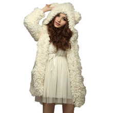 Hoodie Sweatshirt 2017 Women Autumn Winter Warm Soft Fleece Fur Coat Jacket Teddy Bear Ears Thick Overcoat Hooded Long Outerwear(China)