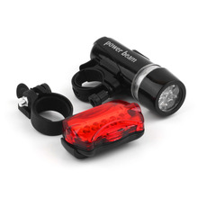 Bicycle Speedometer and 5 LED Mountain Bike Cycling Light Head and Rear Lamp Light Super Bicycle Accessories Set free shipping