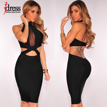IDress Fashion Clothing Halter Neck Hollow Full Black Bodycon Knee Length Dress Turtleneck Fake 2 Piece Bandage Club Party Dress