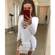 Buy Elegant Lace bodycon dress Slim long sleeve evening party club white dress Women autumn winter black sexy dress for $8.51 in AliExpress store