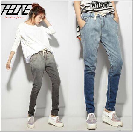 Plus Size Jeans Women Harem Pants Loose Elastic Waist Gradient Color Casual Washed Long Trousers Blue Gray Fashion Jeans WomenОдежда и ак�е��уары<br><br><br>Aliexpress