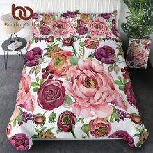 BeddingOutlet Flowers Bedding Set Pink Floral Bed Cover Pink Home Textiles Girls Bedspreads Plant Leaf Bed Set Queen Love Gift(China)
