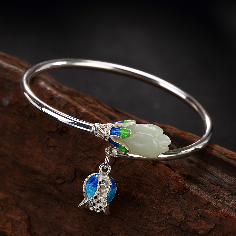 Bracelets & Bangles Authentic Silver 925 Jewelry Natural Jade Engraved Magnolia Flower Cloisonne Enamel Process Openning Type