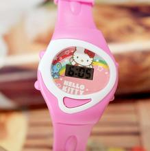 2017 Hot Sell Children Sports Digital Wristwatch Hello Kitty  Pattern Cartoon Watch Pink Rubber Strap LED Girls Kids Watches