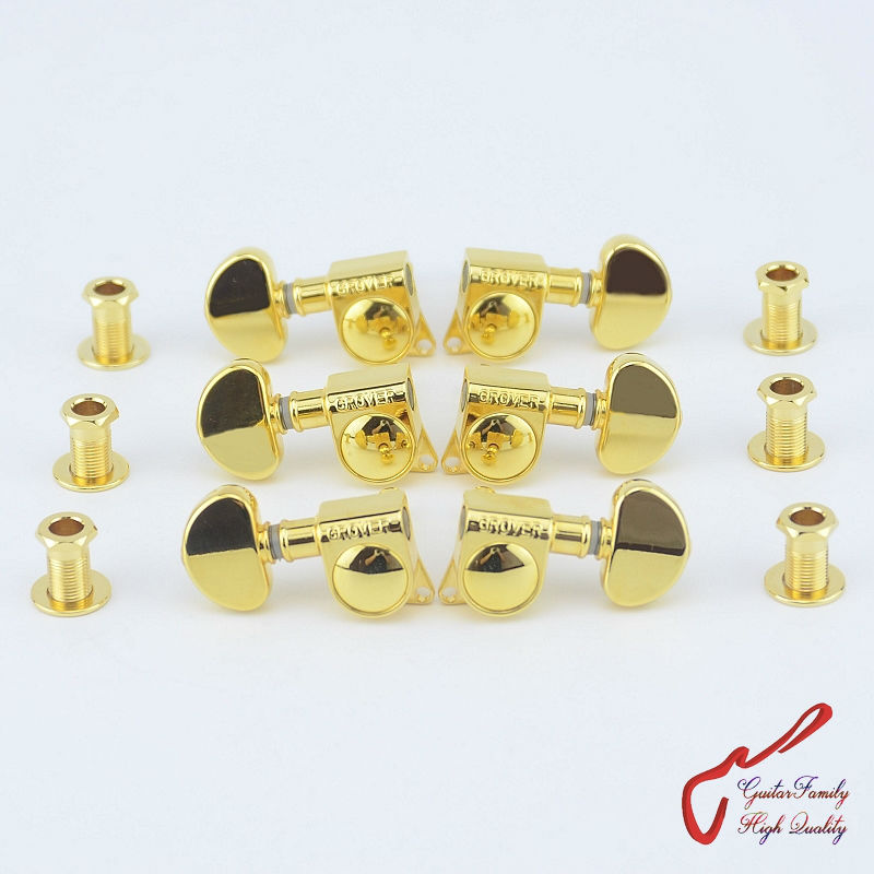 1Set  3R-3L Genuine Grover Guitar  Machine Heads Tuners  1:18  Gold  ( without original packaging )<br>
