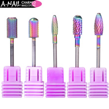 1pc 5 Types Rainbow Coating Tungsten Carbide Burrs Nail Drill Bit Metal Bits For Manicure Drill Accessories Milling Cutte tools(China)