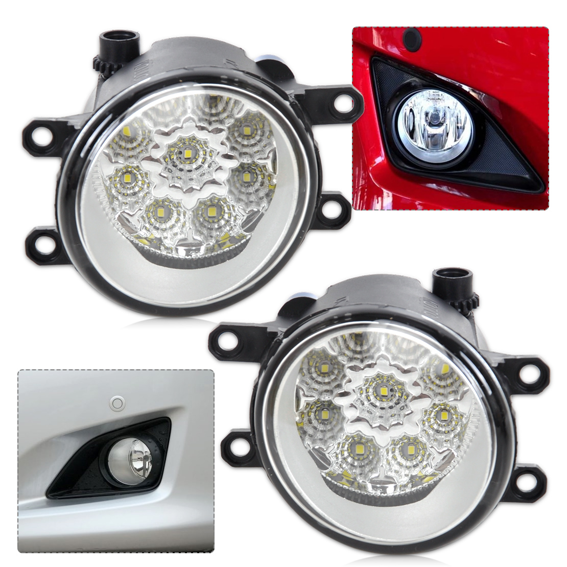 #beler 2Pcs Right/Left Fog Light Lamp 55W 9-LED DRL Daytime Running Lights 81210-06050 for Toyota Camry Corolla RAV 4 Lexus<br>