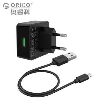 Orico teléfono cargador de carga rápida 3.0 18 w rápido cargador usb para el iphone samsung xiaomi huawei con conexión micro usb cable