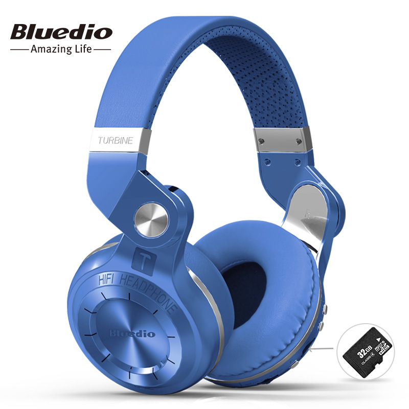 Bluedio T2+ fashionable foldable over the ear bluetooth headphones BT 4.1 support FM radio&amp; SD card functions Music&amp;phone calls<br>