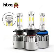 hlxg 72W 12000L/Set 3 Sides COB Chip H4 H7 Led 12V 6500K 9005 H11 9006 HB4 H8 LED Bulb Head Lamp Automobile Conversion Kit N2(China)