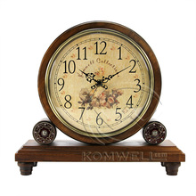Hot Sell Retro Wood Desk Clock Vintage Home Fashion Clock European Bamboo& Wooden Creative Masa Saati For The living room KZ203