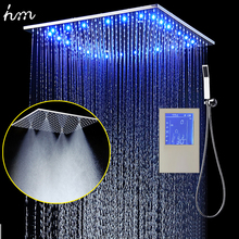 "3Jets LED Intelligent Digital Display Rain Shower Set Installed in Wall 20"" SPA Mist Rainfall Thermostatic Touch Panel Mixer(China)"