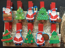 120pcs Santa Claus Design wooden picture pegs,wooden clips, eco friendly pin clothespin craft for Christmas Party Decorations(China)